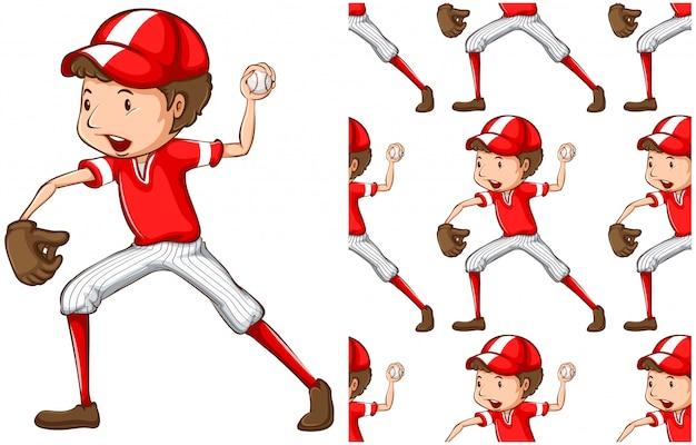 Menino de beisebol sem emenda isolado no branco