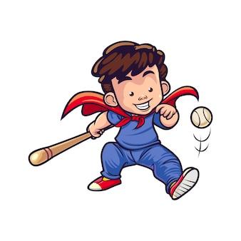 Menino de beisebol super cartoon