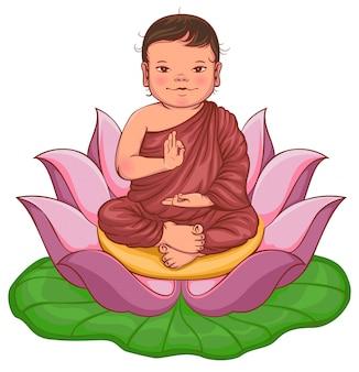 Menino de buda recém-nascido senta-se em flor de lótus