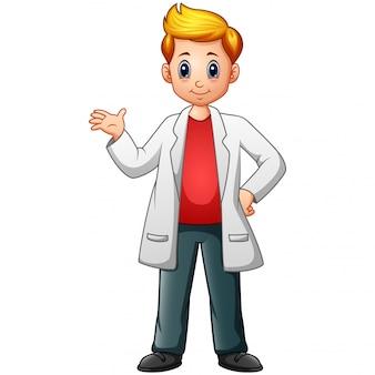 Menino de cientista dos desenhos animados em jalecos de laboratório