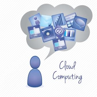 Menino de computação em nuvem (cinza azul e branco cores) ilustração vetorial