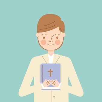 Menino de criança com a bíblia