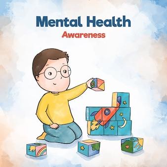 Menino de criança de consciência de saúde mental, construindo com brinquedos