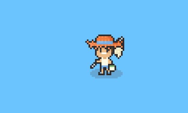 Menino de desenho animado de pixel com malha de captura de inseto