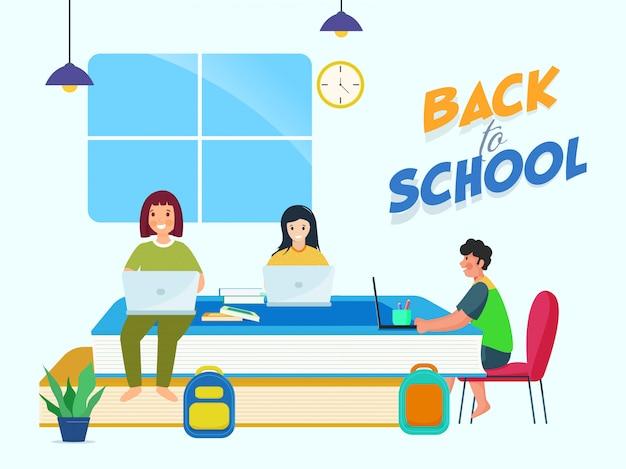Menino de desenho animado e meninas estudando no laptop com livros, mochilas em casa para volta ao conceito de escola.