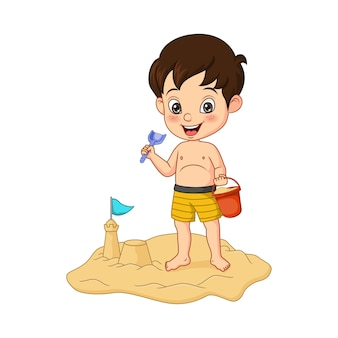 Menino de desenho animado fazendo castelos de areia em uma praia