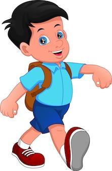 Menino de desenho animado indo para a escola
