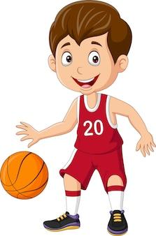Menino de desenho animado jogando basquete