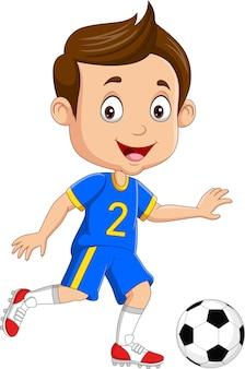 Menino de desenho animado jogando futebol