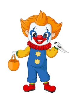 Menino de desenho animado usando fantasia de palhaço de halloween