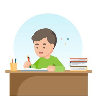 Menino de escola bonito feliz escrevendo para lição de casa