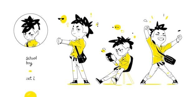 Menino de escola com poses diferentes