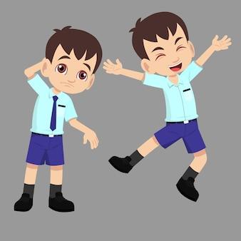 Menino de escola de uniforme tem pose de ação de diferença de salto feliz e infeliz expressão triste ou confusa