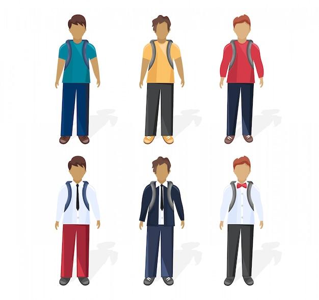 Menino de escola definir estilo de plano de coleção. diferentes estilos de roupas coloridas