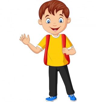 Menino de escola dos desenhos animados carregando mochila acenando a mão
