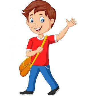 Menino de escola dos desenhos animados com mochila e acenando