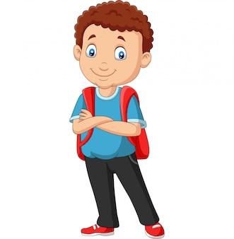 Menino de escola dos desenhos animados com uma mochila