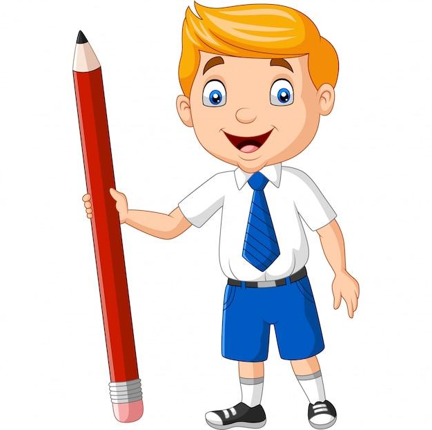Menino de escola dos desenhos animados segurando um lápis