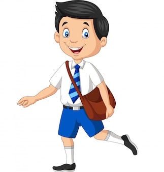 Menino de escola feliz dos desenhos animados em uniforme carregando mochila