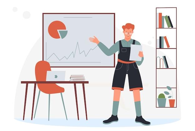 Menino de estudante estudando em ilustração de sala de aula.