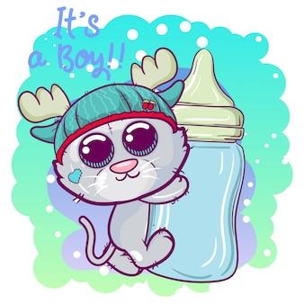Menino de gatinho bonito dos desenhos animados com mamadeira