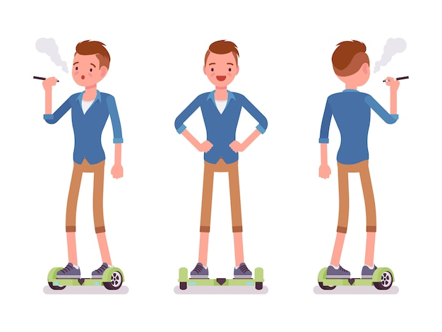 Menino de gyroscooter que balança e vaping
