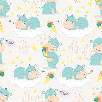Menino de hipopótamo bonito dos desenhos animados.