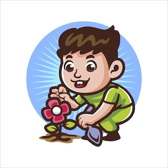 Menino de jardinagem dos desenhos animados