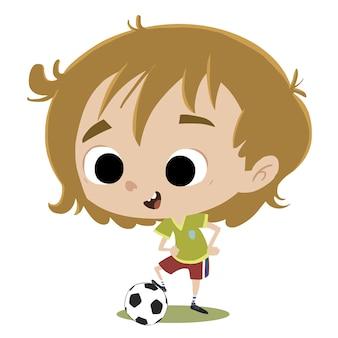 Menino de jogador de futebol com bola
