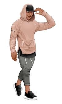 Menino de moda posando andando e tocando sua viseira