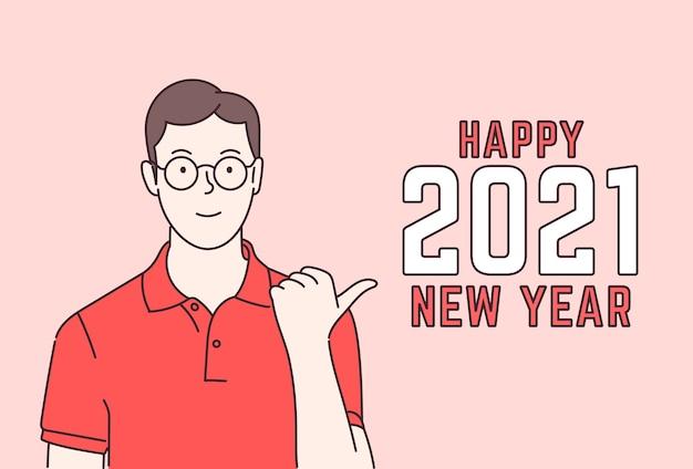 Menino de óculos de bom humor esperando feriado de ano novo ou natal