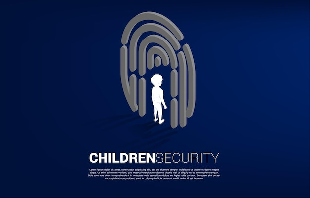 Menino de pé no ícone de digitalização do dedo. conceito de plano de fundo para segurança infantil e tecnologia de privacidade para dados de identidade