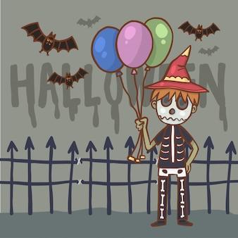 Menino de personagem de desenho animado em traje de halloween