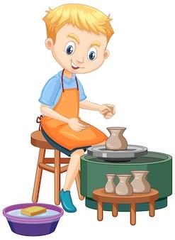Menino de personagem de desenho animado fazendo argila de oleiro em fundo branco