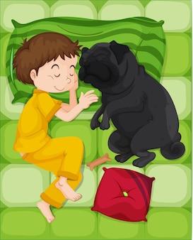 Menino de pijama amarelo dormindo com cachorro