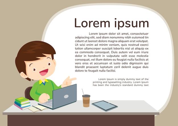 Menino de studens e ilustração do conceito de e-learning