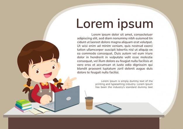 Menino de studens e modelo de ilustração de e-learning