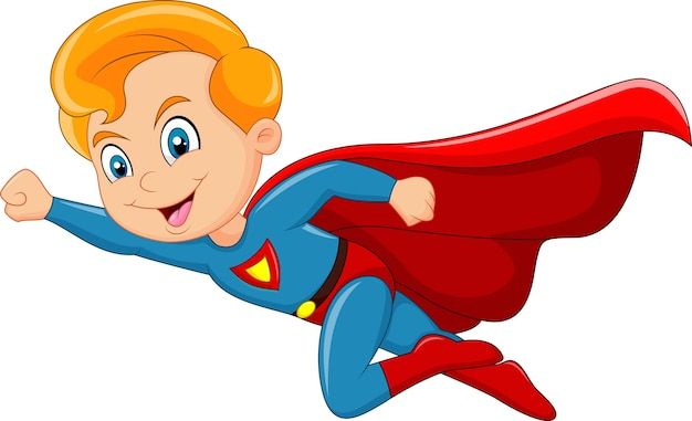 Menino de super-herói dos desenhos animados isolado no fundo branco