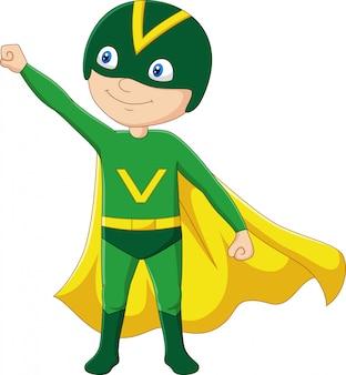 Menino de super-herói dos desenhos animados, isolado no fundo branco