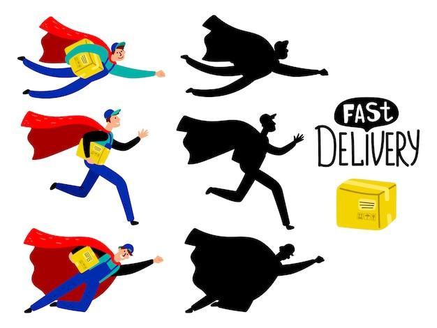 Menino de super-herói entrega rápida