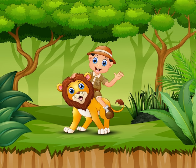 Menino de tratador dos desenhos animados e um leão na selva