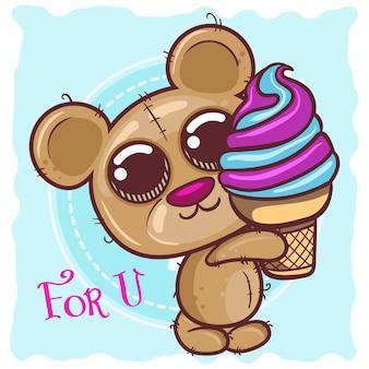 Menino de urso de pelúcia bonito dos desenhos animados com sorvete - vetor