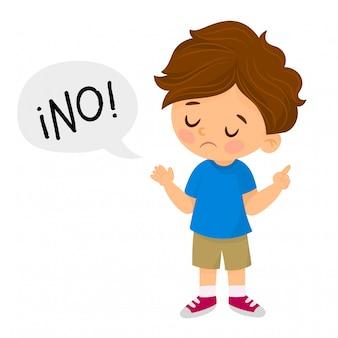 Menino descontente diz não