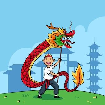 Menino desenhado a mão brincando com ilustração de dragão chinês