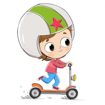 Menino, dirigindo, um, scooter elétrico, com, um, capacete