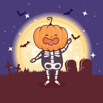 Menino disfarçado de esqueleto com cabeça de abóbora para a feliz celebração do dia das bruxas no design de ilustração vetorial cena de cemitério