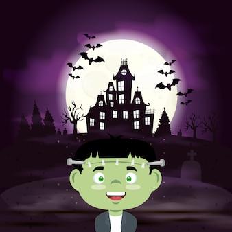 Menino disfarçado de frankenstein na cena ilustração de halloween