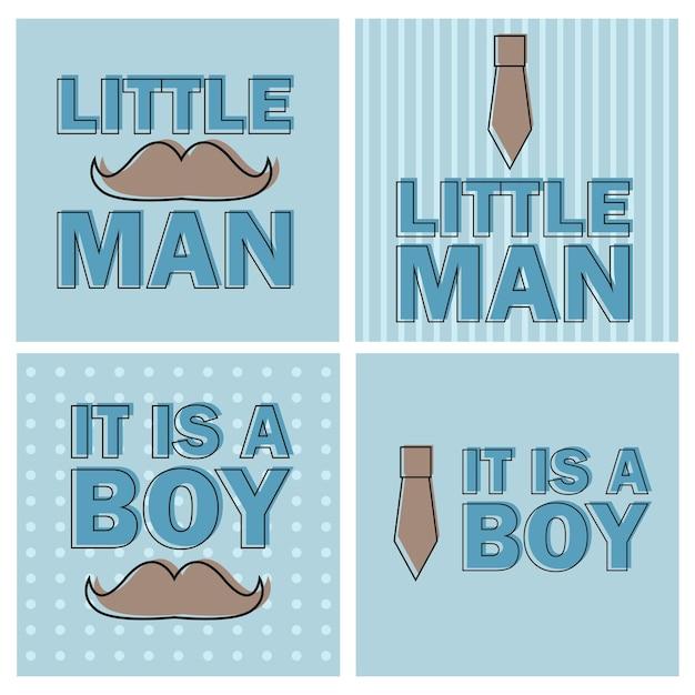 Menino do chá de bebê - vetor de modelo de convite de homenzinho - ilustração - conjunto de quatro cartas