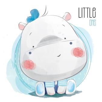 Menino do hipopótamo do bebê