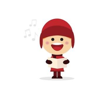 Menino do natal que canta canções de natal em um fundo branco.
